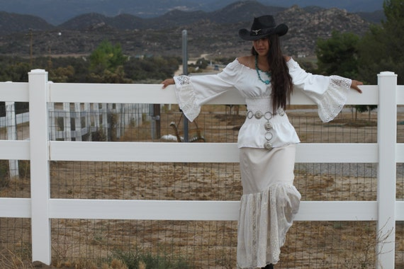 """LAST ONE """"Romantique"""" /One size fits most / the Cheyenne // Romantic Maxi/Long skirt with lace overlay in Beige  /Ready to Ship /OOAK"""