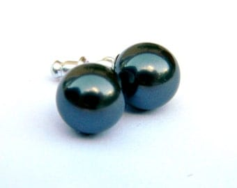 Black Pearl Earrings  Large 10mm Charcoal Onyx Round Swarovski Pearls on Hypoallergenic Stainless Steel  Post Stud Earring  Beaded Jewelry
