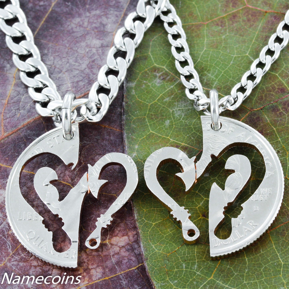 Fish hook heart couples necklace set hand cut coin for Fish hook necklace