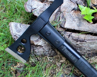 Hatchet Axe by SOG: The Fasthawk - Black,  Personalized Groomsmen Gift, Birthday, Dad, Father's Day, Hunting, Camping, Christmas, Climbing