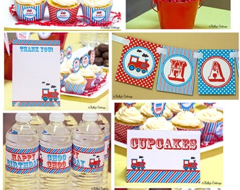 Vintage Train Birthday Party Ready To Go Package, Instant Download, Printable DIY Package