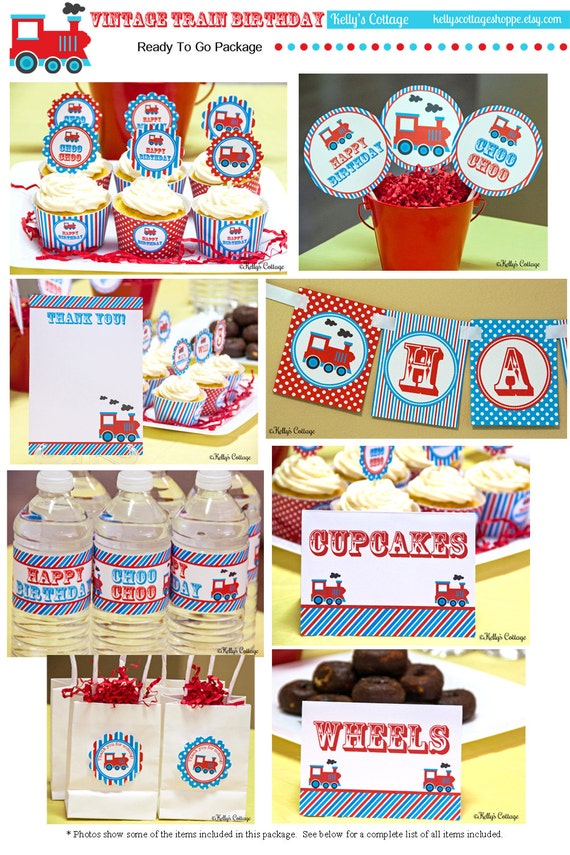 Vintage Train Birthday Party Ready To Go Package Printable DIY Package
