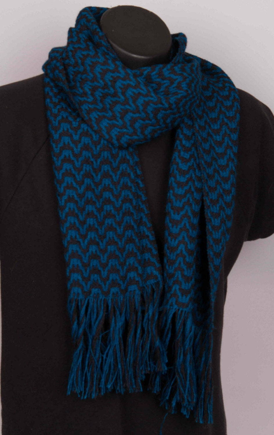 teal and black alpaca and silk scarf
