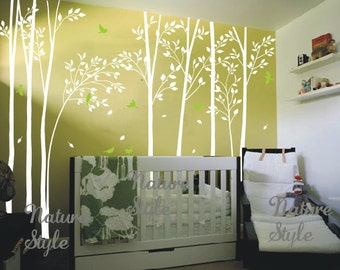 forest wall decals birch tree wall decal birds wall mural nursery wall sticker kids room wall decals living room decal- Birds in the Forest