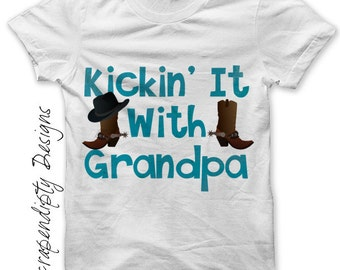 Grandpa Iron on Transfer - Iron on Shirt PDF / New Grandpa Shirt / Cowboy Boots Tshirt / Boy Toddler Clothes / Baby Grandma Gifts Tee IT235