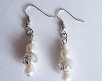 Dangle Pearl Earrings Bridesmaid Earrings Wedding Jewelry Pearl Dangle Earring Wedding Earrings Bridal Earrings White Long Pearl Earrings