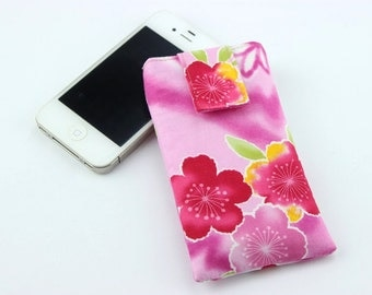 SALE Gift For Her Retro Kimono iPhone 5c Sleeve, Gift Idea Under 15, Cherry Blossoms Pink