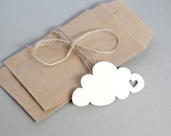 Tag / Label CLOUD (with heart cut) x20