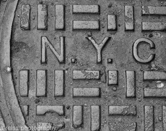 Black and White NYC New York City Manhole Sewer Cover Sign Art Print Photography Urban Industrial Modern Home Decor Wall Art