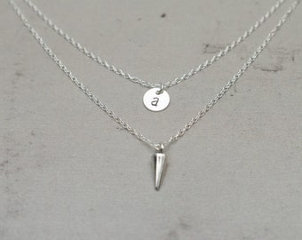 Layered Initial Necklace | Double Chain | Spike Necklace | Tiny Sterling Silver Disc | Personalized Necklace | Pendulum Modern Necklace