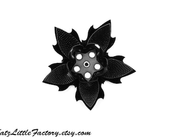 Large Cyber Flower in Black Lizard and Shiny Black PVC Spiky Studded Hairpiece Gothic Industrial Hair Clip