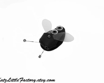 Flyzo - Cyber Fly Bug Black with Silver Dots PVC Beetle Insect Guitar Strings Sculptured Gothic Industrial Hair Clip