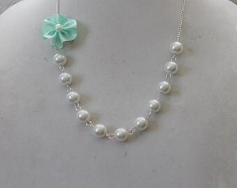 White Pearl and Mint Green Flower Necklace
