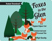 Red Foxes Digital ClipArt, INSTANT DOWNLOAD including red foxes, forest trees, shrubs, blue digital papers