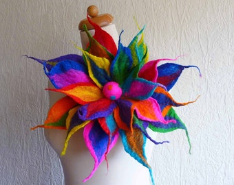 felted flower corsage pin brooch, handmade, felt flowers, lagenlook, handmade, shawl, rainbow colours, red,blue,pink,orange, MADE TO ORDER