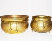 Vintage Hammered Solid Brass Planter Set of 2 Brass Planters Braided Rope & Knot Planter Brass Bowl