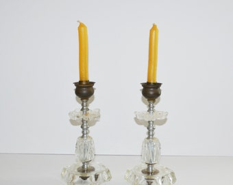 Vintage Crystal Candlesticks Industrial Chic Candle Holders Cut Glass Candlesticks Glass Candle Holders