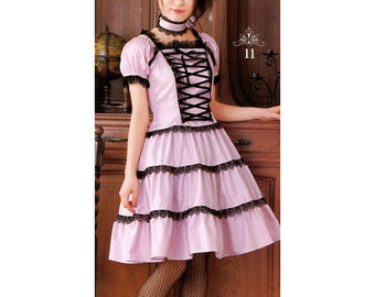 Lolita Front Corset Dress Sewing Pattern PDF English List of Materials Included
