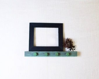 Rustic Wall Hooks & Ledge Shelf with Upcycled Industrial Hardware - Green