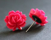Hot Pink Lotus Flower Earrings. Fuchsia Lotus Earrings. Bronze Post Earrings. Dark Pink Earrings. Stud Earrings. Handmade Jewelry.