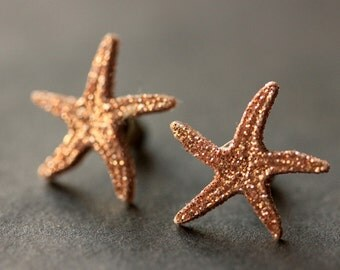 Copper Starfish Earrings. Glitter Sea Star Fish Earrings. Bronze Post Earrings. Beach Earrings. Seashell Stud Earrings. Handmade Jewelry.