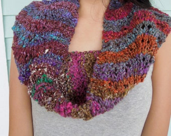 Infinity Scarf is Hand knit in a Gorgeous Noro Silk Wool Blend in a Muted Rainbow of Colors