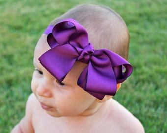 Plum Baby Headband - Plum Bow Headband - Infant Headband