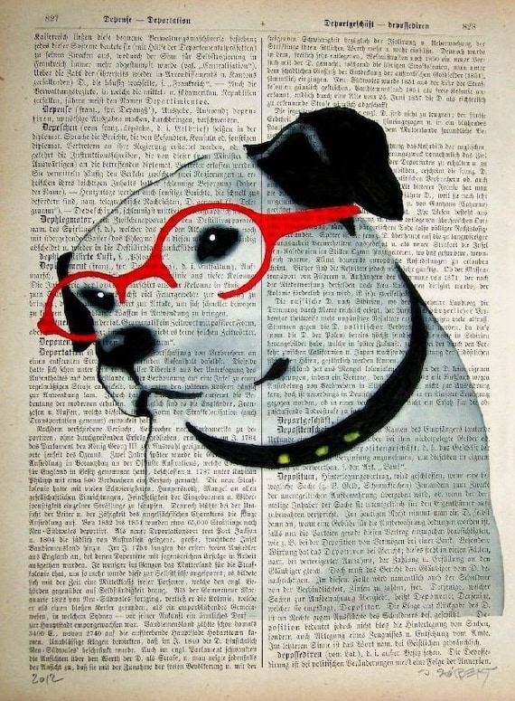 JACK RUSSELL Scientist Terrier Art Giclee Dictionary Dog Prints Posters Mixed Media Terrier Illustration Drawing Art
