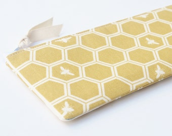 Organic Fabric Pencil Case, Zipper Pouch, Canvas, Bee and Honeycomb in Sun