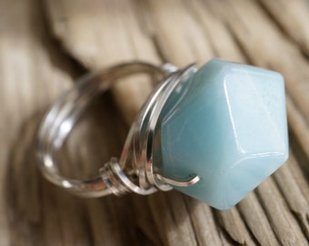 Statement Piece Ring - Raw Amazonite Geometric Cut Ring - Silver Wire Wrapped Amazonite Ring - Natural Earthy Jewelry