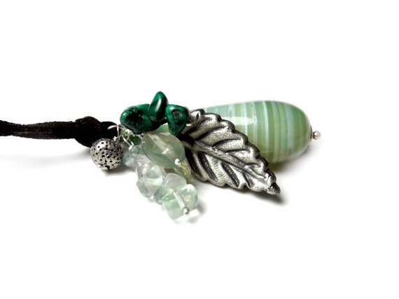 Silver Leaf Necklace - Green Amethyst Agate Malachite Fluorite Aventurine - Gemstone necklace - Botanic Nature Forest - Pagan Elvish Pendan