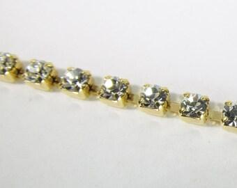 3mm Swarovski Crystal Rhinestone Gold Plated Cup Chain Ch234
