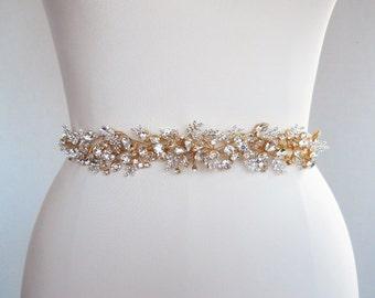 Bridal Swarovski crystal sash belt in gold or silver, Beaded bridal sash, Swarovski belt, Wedding waist sash ribbon belt, Floating crystals