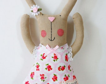 handmade bunny rabbit plush doll with personalised name.