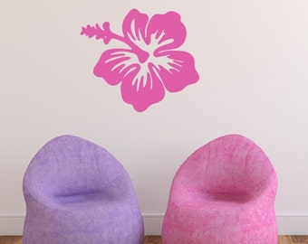 Hibiscus Hawaiian Flower Vinyl Wall Decal - Hawaiian Decor - Beach Wall Decal - Beach Decor - Flower Wall Decal 22445