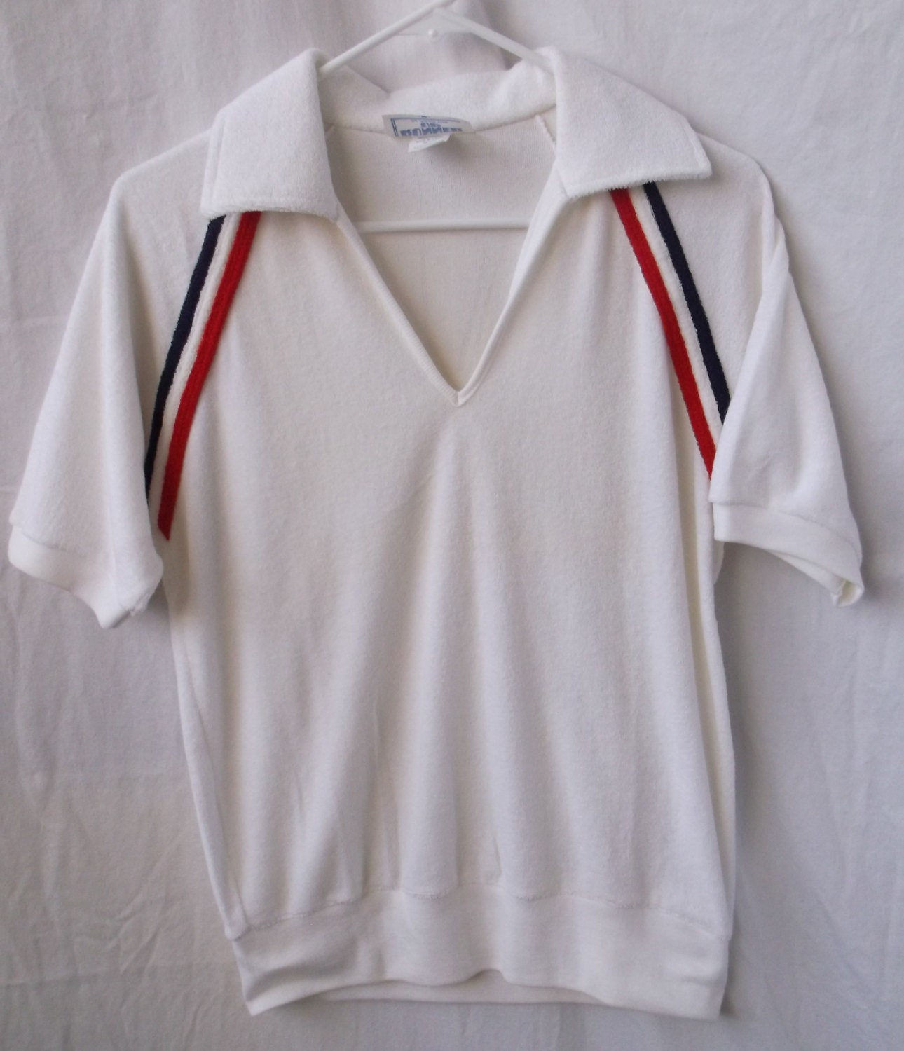 1970s terry cloth tennis polo shirt by runner up white with for Terry cloth polo shirt