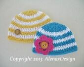 Crochet Pattern 097 - Crochet Hat Pattern for Stripe Baby Hat with Detachable Flower - Hat Crochet Pattern - Crochet Baby Pattern - Baby Hat