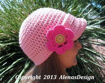 Crochet Pattern 087 - Crochet Hat Pattern - Hat Crochet Pattern for Visor Beanie with Detachable Flower - Boys - Girls -Teen - Men - Women