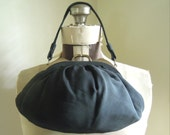 Vintage Black Fabric Evening Clutch / Purse / Two Sided / Gold Tone Metal