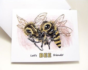 Lets BEE Friends Valentine Card, Friendship Card, Blank Card, Personalized Name, Custom Message, Best Friend Gift, Honey Bee, Any Occasion