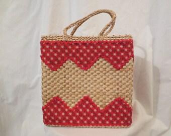 PALM BEACH PICNIC Billie Ross straw handbag purse tote - red trim - pin up prop
