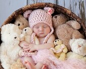 READY Baby Girl Hat - Baby Bear Hat Pink White Tweed Teddy Bear with Earflaps & Ties - Flower Clip