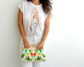 vegan purse,fashion accessories, hand painted clutch, green and yellow