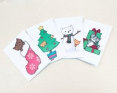 8 Christmas Cat Mini-Cards