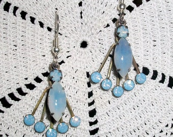 """Vintage OPALESCENT GLASS EARRINGS, Handmade w/Beautiful Layered Settings Holding Blue & White Glass Stones - """"Rays of Ice"""" - Bohemian Beauty"""