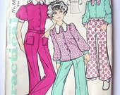 1970s Girls Blouse Shirt Flared Trousers Pants Vintage Sewing Pattern Practical 6666 Age 9 10 11 Bust 28 Hip 29