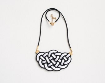Knot necklace, nautical necklace, black and white necklace, statement necklace, bib necklace, rope jewelry, summer trends, gift for her