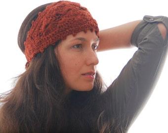 Brick red headband, wool headband, crochet ear warmer, fashion headband, autumn fall merino headband