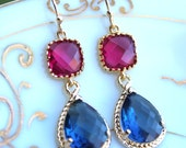 Sapphire Navy Blue Earrings Fuchsia Pink Earrings Gold Two Tier Pink Bridesmaid Earrings Wedding Earrings Fuchsia Navy Bridesmaid Jewelry