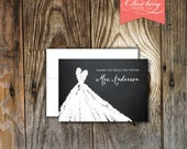 Sweetheart Bridal Shower Thank You Notes with Chalkboard Background